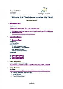 Making the Child Friendly Justice Guidelines Child Friendly. Project Outputs