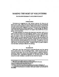 MAKING THE MOST OF VOLUNTEERS