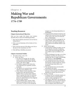 Making War and Republican Governments