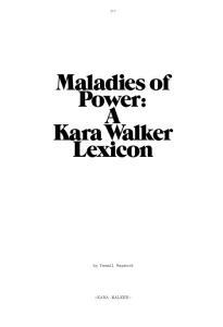 Maladies of Power: A Kara Walker Lexicon