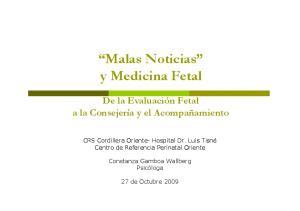 Malas Noticias y Medicina Fetal