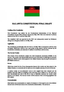 MALAWI'S CONSTITUTION: FINAL DRAFT