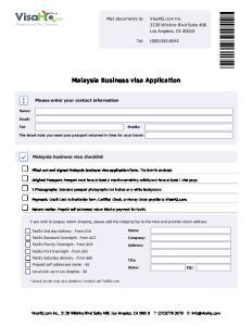 Malaysia Business visa Application