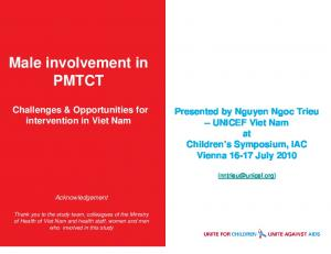 Male involvement in PMTCT