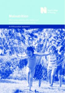 Malnutrition. What nurses working with children and young people need to know and do. An RCN position statement