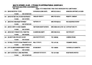 MALTA KENNEL CLUB - 17TH MALTA INTERNATIONAL SHOW 2014
