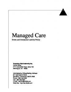 Managed Care Errors and Omissions Liability Policy