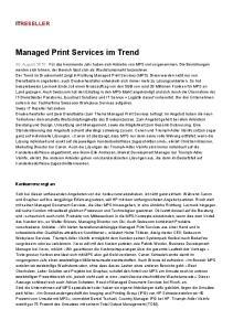 Managed Print Services im Trend