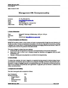 Management 230: Entrepreneurship