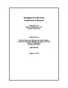 Management Audit of the Department of Revenue