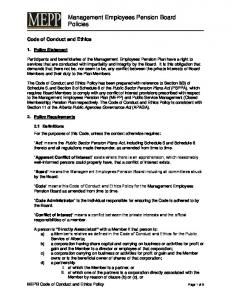 Management Employees Pension Board Policies