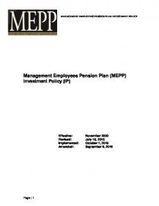 Management Employees Pension Plan (MEPP) Investment Policy (IP)