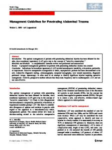 Management Guidelines for Penetrating Abdominal Trauma