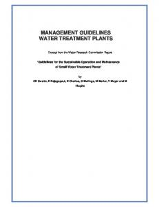 MANAGEMENT GUIDELINES WATER TREATMENT PLANTS