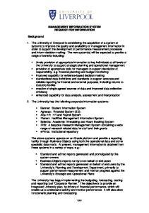 MANAGEMENT INFORMATION SYSTEM REQUEST FOR INFORMATION