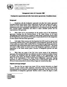 Management Letter of 4 December Headquarters agreements and other host country agreements: Compliance issues