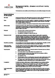 Management liability directors and officers liability Policy wording