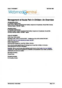 Management of Acute Pain in Childen: An Overview