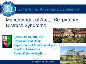 Management of Acute Respiratory Distress Syndrome