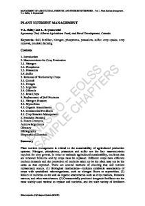 MANAGEMENT OF AGRICULTURAL, FORESTRY, AND FISHERIES ENTERPRISES Vol. I - Plant Nutrient Management - V.L. Bailey, L. Kryzanowski