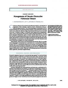 Management of Chronic Obstructive Pulmonary Disease