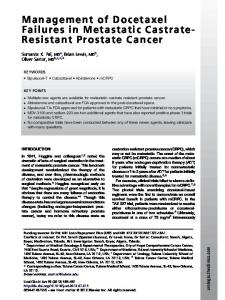 Management of Docetaxel Failures in Metastatic Castrate- Resistant Prostate Cancer