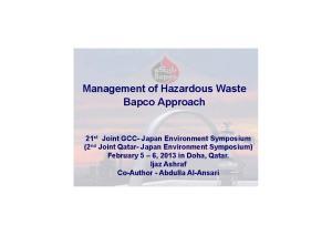 Management of Hazardous Waste Bapco Approach