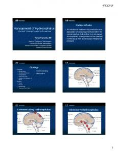 Management of Hydrocephalus Current Concept and Controversies
