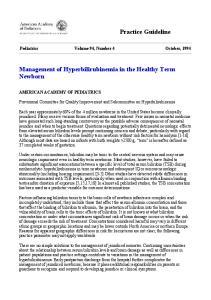 Management of Hyperbilirubinemia in the Healthy Term Newborn