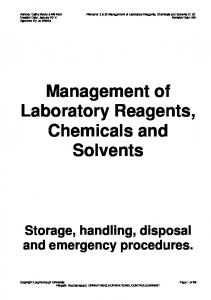 Management of Laboratory Reagents, Chemicals and Solvents