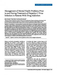 Management of Mental Health Problems Prior to and During Treatment of Hepatitis C Virus Infection in Patients With Drug Addiction
