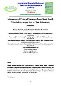 Management of Protected Mangrove Forest Based Benefit Value in Batu Ampar District, West Kalimantan, Indonesia
