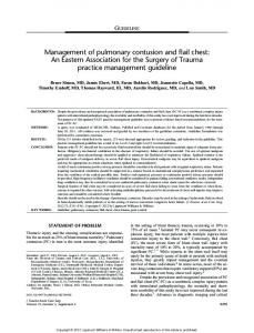 Management of pulmonary contusion and flail chest: An Eastern Association for the Surgery of Trauma practice management guideline