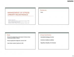 MANAGEMENT OF STRESS URINARY INCONTINENCE