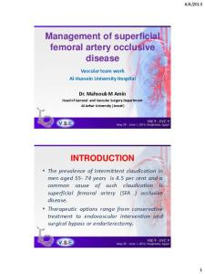 Management of superficial femoral artery occlusive disease