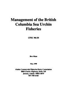 Management of the British Columbia Sea Urchin Fisheries