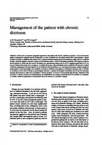 Management of the patient with chronic dizziness