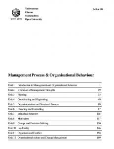Management Process & Organisational Behaviour