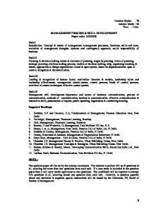 MANAGEMENT PROCESS & SKILL DEVELOPMENT Paper code: 2.11DER