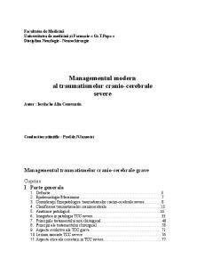 Managementul modern al traumatismelor cranio-cerebrale severe