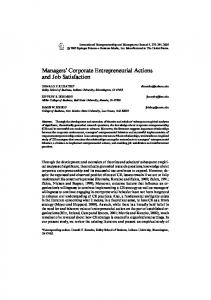 Managers Corporate Entrepreneurial Actions and Job Satisfaction