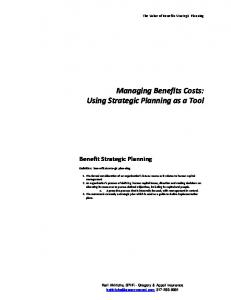 Managing Benefits Costs: Using Strategic Planning as a Tool
