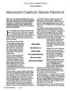 MANAGING COMPLEX DESIGN PROJECTS