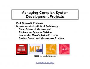 Managing Complex System Development Projects