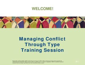 Managing Conflict Through Type Training Session