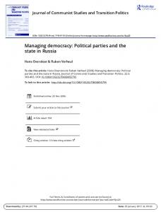Managing democracy: Political parties and the state in Russia