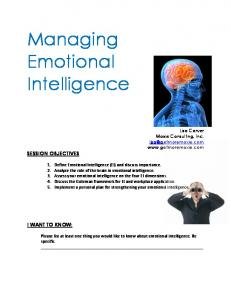 Managing Emotional Intelligence