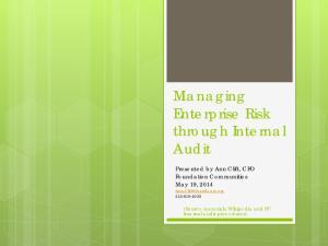 Managing Enterprise Risk through Internal Audit