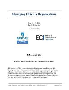 Managing Ethics in Organizations