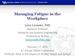 Managing Fatigue in the Workplace